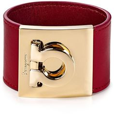 Salvatore Ferragamo Leather Gancini Cuff ($440) ❤ liked on Polyvore featuring jewelry, bracelets, cuff jewelry, salvatore ferragamo, cuff bangle, leather cuff jewelry and leather bangle