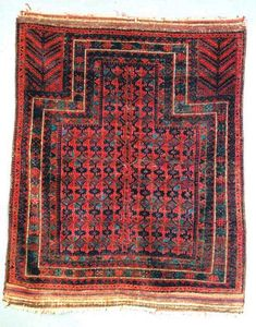 This Timuri prayer rug was woven about 1850 in Afghanistan and is in very good condition. 4x5.