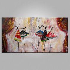Original Art Ballet Dancers Painting Wall Art Canvas Art