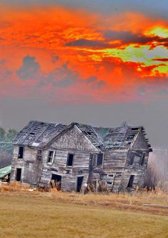 ✮ Sunset Fire Behind an Abandoned House