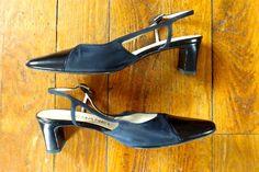 Chanel Navy slingback Heels 36.5 #CHANEL #Slingbacks #WeartoWork