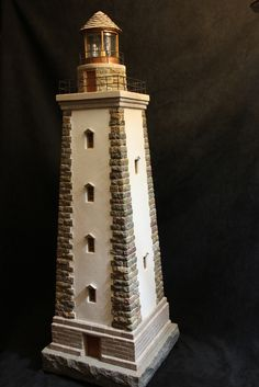 miniature stone lighthouses | by pedro davila66 Garden Lighthouse, Lighthouse Lamp, Train Layouts, Miniature Houses, Recycled Art, Fairy Houses, Woodworking Projects Plans, Dollhouse Miniatures, Wood Crafts