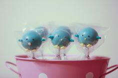 Blue chick cake pops.