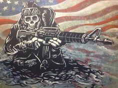 The Navy SEAL American warrior slowly emerges from the dark waters, ready to complete his clandestine mission in this painting by Day of the Dead artist David Lozeau. Stretched Canvas Prints, Canvas Art Prints, Us Navy Seals, Arte Horror, Military Art, Military Jeep, Skull Art, Crane, Special Forces