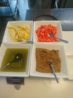 These are the toppings for the Ful Medames. Cumin powder, lemon,tomatoes and olive oil.