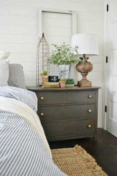 Window frame as backdrop to nightstand // Early Summer Home Tour -