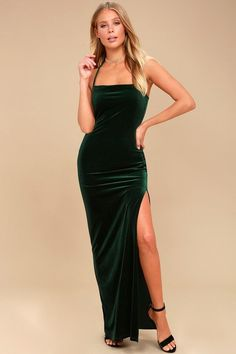 9e2147bac27f Crazy Over You Forest Green Velvet Maxi Dress