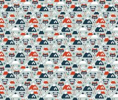 Retro ski fox and grizzly bear fabric by littlesmilemakers on Spoonflower - custom fabric