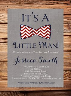 Baby shower Invitation boy Bowtie Boy Shower by StellarDesignsPro