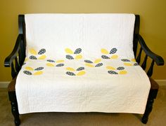 Modern Twin Quilt - Twin Size Bed Quilt - Yellow - Grey - Petals - White Quilt