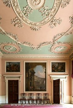 the palace of palaces! and yet a palace sans crown, sans coronet – but such expense! such profusion! English Antique Furniture, Georgian Interiors, Antique House, Ceiling Art, Ceiling Detail, Country Cottages, Country Houses, Marble Fireplaces, Grand Homes