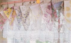 i like this idea for the dining room, maybe using linen table clothes from thrift store.  hankie how2