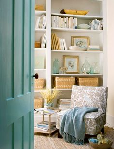 Smart Ways to Use Baskets. Store and hide a lot, for an attractive and uncluttered looking bookshelf.