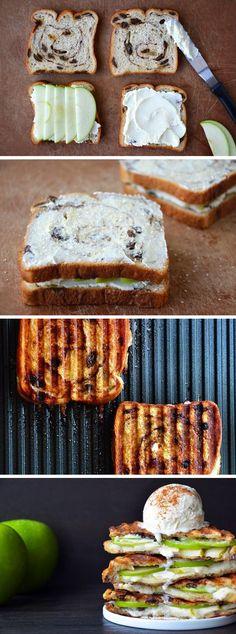 Toetje! Krentenbrood-appel tosti met ijs!