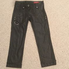 MISS SIXTY  Leather pants LIKE NEW Faux Leather Straight Leg Capris pants. 2 pockets in the front and a chain clip. 2 fake pockets in the back. Can wear a belt with these. Made to look Cuffed at the bottom. I only wore these once, theyre in perfect condition!! No signs of wear Miss Sixty Pants