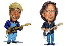 Buddy Guy & Eric Clapton<3  Caricature.