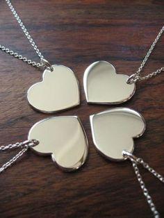 colar coração 4 partes