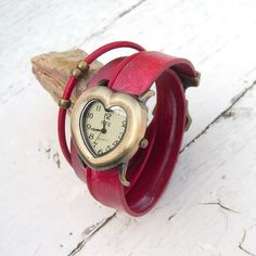 Leather watch, Women wrist watch, Heart shape watch cuff, Cowhide, Boho watch cuff