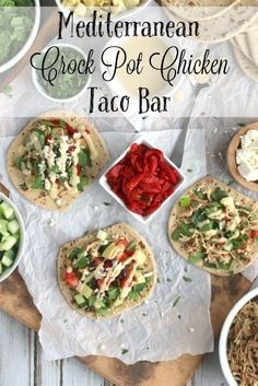 Make taco night special with this Mediterranean Crock Pot Chicken Taco Bar recipe! Easy to prep ahead for busy nights! Perfect for parties or game day, too! Best Crockpot Recipes, Slow Cooker Recipes, Crockpot Meals, Fixate Recipes, Taco Bar, Dinner On A Budget, Budget Dinners, Easy Dinners, Clean Eating