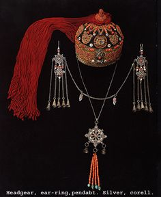Mongolian Ornate Headgear with attached pendant and earrings