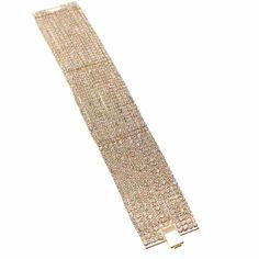 Pulseras de 7 y 11 líneas de cristales checos, bañadas en rodio, oro y oro rosa.