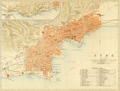 Old map of Kobe  Historic maps reproductions by AncientShades