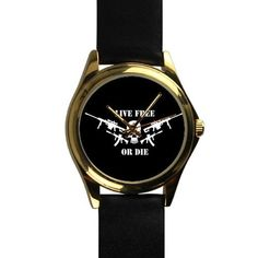Popular Cool skull Live Free or Die Unisex Silver-tone Round Leather Metal Watch >>> Quickly view this special outdoor item, click the image : Travel Gadgets