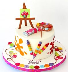 Painting Party Cake- Such a cute cake for a painting themed party...@Janice Keith Ranburger...You should have this made for your one year anniversary at the Artsy Fartsy!