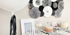 Black and white dessert table 800x400
