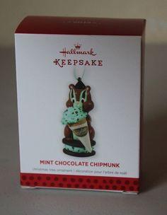 Hallmark Keepsake 2013 Ornament Mint Chocolate Chipmunk Ice Cream Cone  - NEW