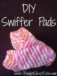 DIY Swiffer Pads:  Like the idea of a Swiffer, but hate spending money on the pads? Here's an idea for DIY Swiffer pads that are reusable! Take a chenille sock and pull it over the head of the Swiffer mop. It's as easy as that! After use, throw the sock into the washing machine, making it reusable. Most dollar stores sell a pair of chenille socks, making this DIY even more frugal!