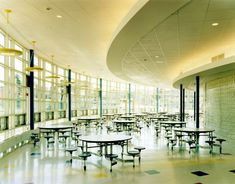 Clinical, but the tables seems to be foldable. Traditional cafeteria design: hospital, school.