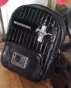 1968 Mustang Backpack - Leather With Chrome Emblems and Ashtray