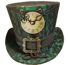 Steampunk madhatter Hand made green/black lace Top Hat #Raven