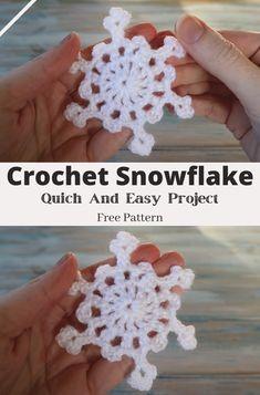 Free Crochet Snowflake Patterns, Christmas Crochet Patterns, Crochet Snowflakes, Christmas Snowflakes, Crochet Patterns For Beginners, Crochet Ideas, Crochet Projects, Knitting Patterns, Diy Projects