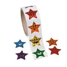 Laser Smiling Stars Roll Stickers - OrientalTrading.com