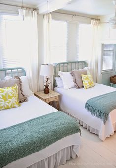 Cottage-y Coastal Bedroom Decor. Bedroom. Coastal Bedroom Decor Ideas. #Bedroom #CoastalBedroom #SharedBedroomDesign Via House of Turquoise.  Designed by Jane Coslick.