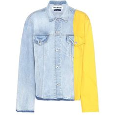 Off-White Trucker Denim Jacket (1.980 BRL) ❤ liked on Polyvore featuring outerwear, jackets, tops, coats, coats & jackets, blue, jean jacket, off white jacket, blue jean jacket and denim jacket
