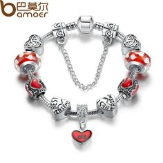 BAMOER 2017 Hot Strand Bracelet Fashion Silver Plated Heart Bracelets with Red Glass Bead Women Bracelet Accessories PA1885