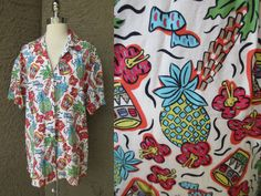 Dockers Hawaiian Print Shirt Button Down by GeekGirlRetro on Etsy