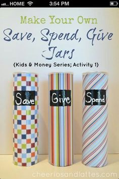 save, spend, give money jars 4 little ones