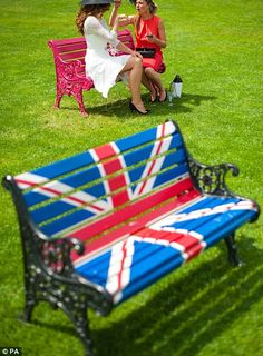 Quintessentially British: Racegoers were treated to a series of Union flag-themed decorati...