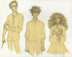 The Golden Trio - Ron Weasley, Harry Potter, and Hermione Granger Fanart Harry Potter, Harry James Potter, Harry Ron Hermione, Harry Potter Drawings, Harry Potter World, Ron Weasley, Hermione Granger, Vif D'or, Golden Trio