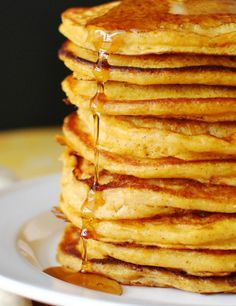 Pumpkin Buttermilk Pancakes. Delicious breakfast after a morning workout. Pair with yogurt and fruit!