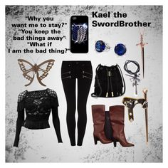 """""""Kael the SwordBrother"""" by thenightfurygirl ❤ liked on Polyvore featuring Christian Lacroix, Paige Denim, Vince Camuto, Giuseppe Zanotti, Bling Jewelry, Rachel Roy and NOVICA"""