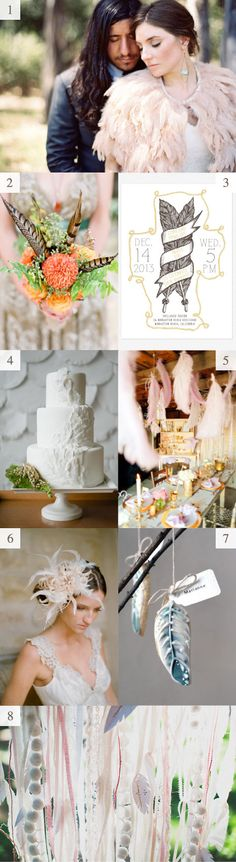 Using feathers in wedding elements and decor. Love it!