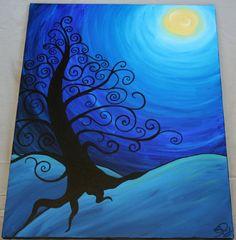 Tree in moonlight. DIY canvas art inspiration