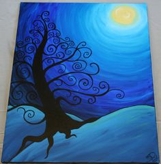 Tree in moonlight.  DIY canvas art inspiration