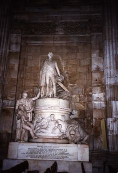 Lord Horatio Nelson Memorial Statue, St. Paul's Cathedral - upper  street level - (his fabulous tomb is in the crypt) - This commemorates  his famous battles like Trafalgar