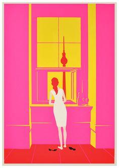 Christoph Niemann / Woman at the Window, after Caspar David Friedrich. pink & yellow